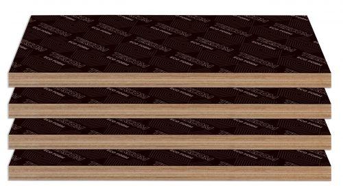 Ván ép phủ phim tekcom thì có 3 độ dày khác nhau: 12 ly – 15 ly và 17 ly