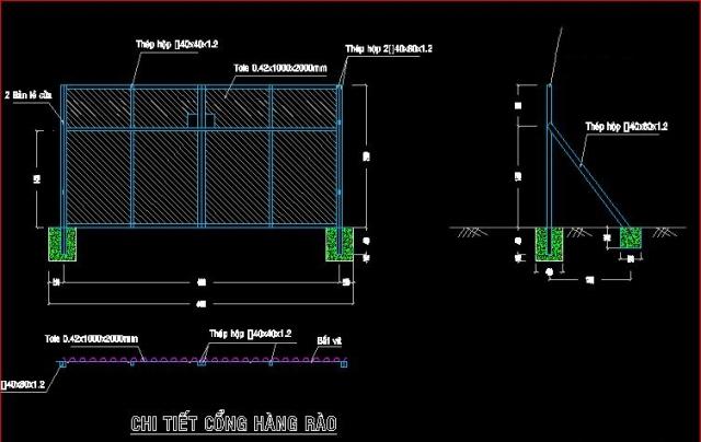 bản vẽ thiết kế hàng rào tôn công trường