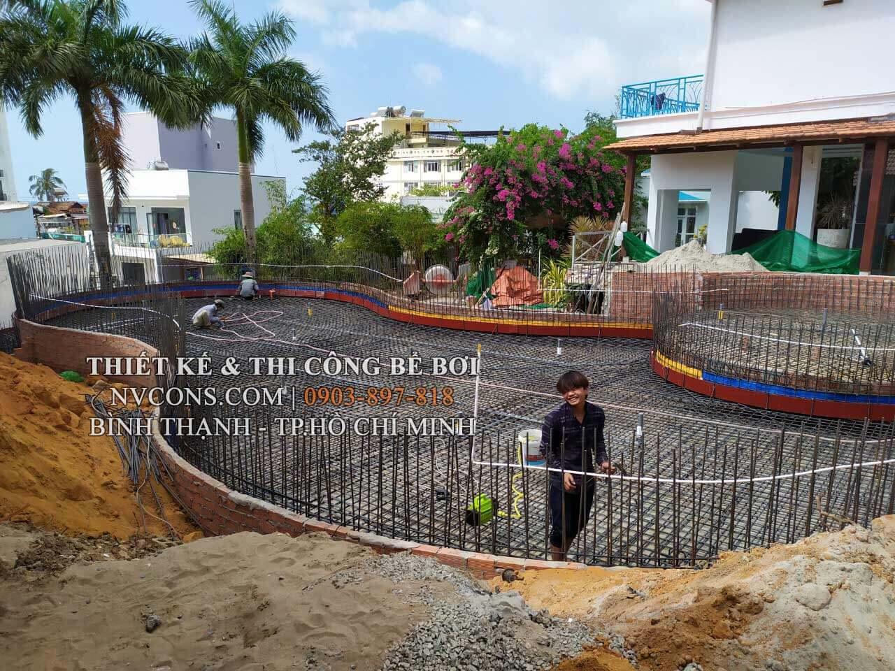 Gia công cốt thép thi công bể bơi khách sạn Lavita Phú Quốc