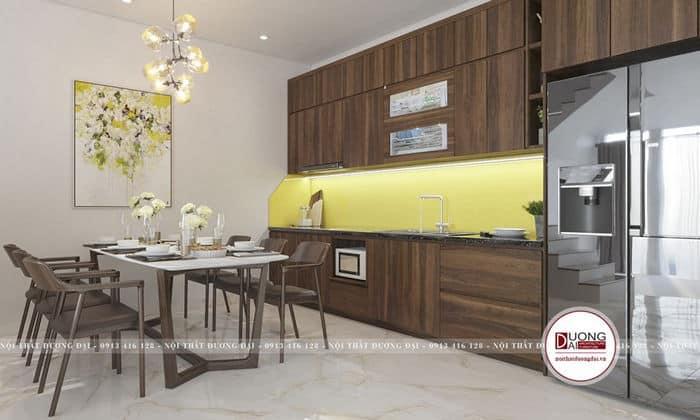 Chất liệu gỗ công nghiệp MDF làm cho tủ bếp thêm đẹp và bền