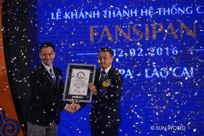 Cáp treo Fansipan vinh dự được nhận 2 kỷ lục Guinness thế giới vào ngày khánh thành cáp treo 2/2/2016.