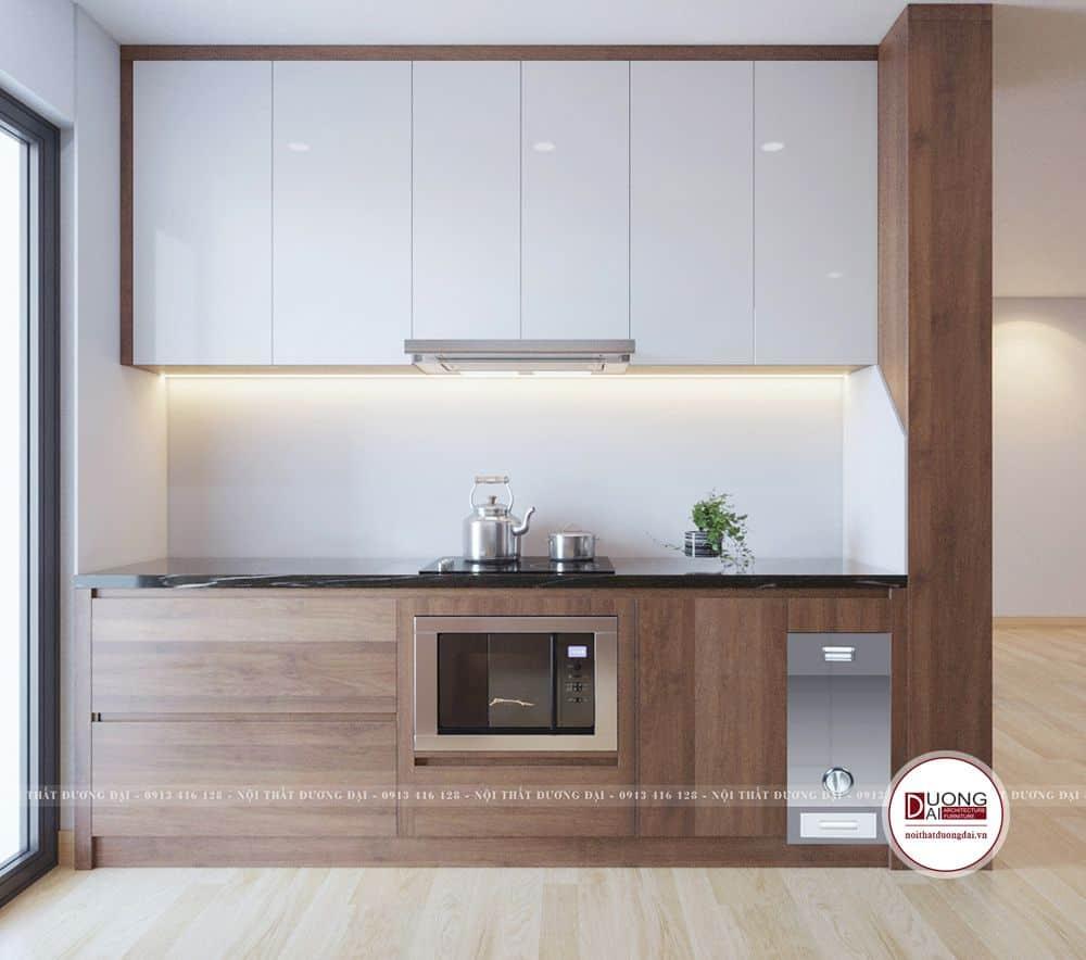 Tủ bếp dưới được làm từ cốt gỗ MDF, bên ngoài là vân gỗ Melamine